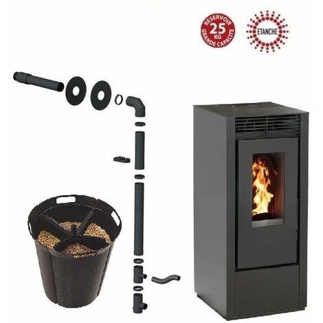 Pack poêle à granules MARINA 14 KW Etanche Noir + Kit Conduit Sortie Ventouse - option Pellet'Quadra réserve à granulés 15kg