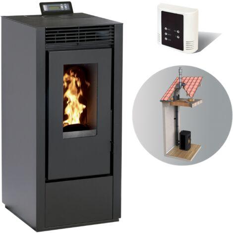 Pack Po�le � granules MARINA 11KW Etanche Noir + Kit Conduit Double Flux Int�rieur Vertical Avant Tubage 100/150 - option WIFI