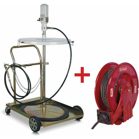 Pack pompe à graisse pneumatique avec enrouleur de 15m MW-Tools VP200 SET