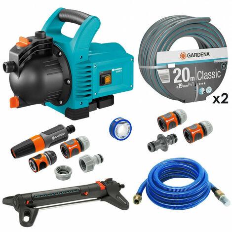 Pack Pompe d'arrosage 3000/4 + Tuyau Ø19mm 2x20m + Kit connexion + Kit aspiration laiton + Kit base + Arroseur 150m² GARDENA