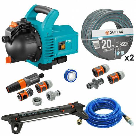 Pack Pompe d'arrosage 3000/4 + Tuyau Ø19mm 2x20m + Kit connexion + Kit aspiration laiton + Kit base + Arroseur 350m² GARDENA