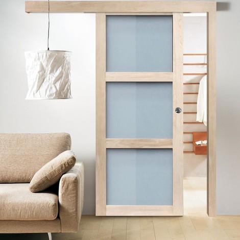 pack porte coulissante en applique london ch ne brut. Black Bedroom Furniture Sets. Home Design Ideas