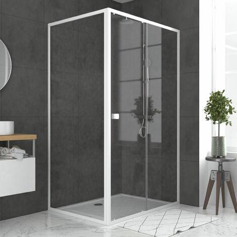 Pack porte de douche Coulissante blanc 120x185cm + retour 80 verre transparent 5mm - WHITY slide 120