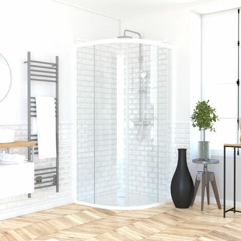 Pack porte de douche coulissante blanc de 89 à 90x190 cm + receveur - WHITY ROUND SLIDE