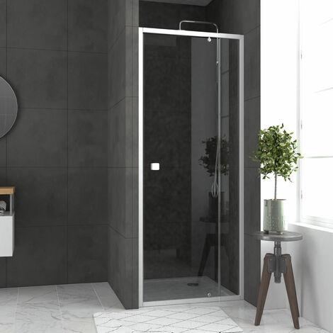 Pack porte de douche pivotant blanc de 79 à 90x190cm + receveur 90x90 - WHITY SLIDE