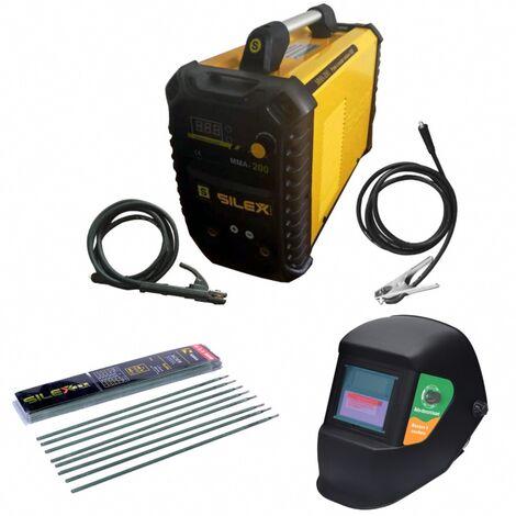 Pack poste à souder 200A + masque de soudure noir + 50 électrodes Silex ®