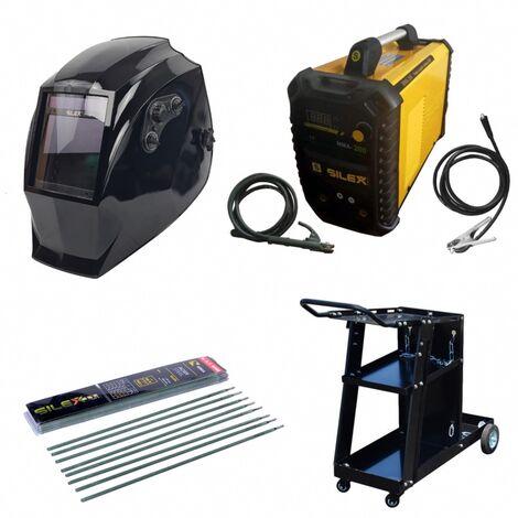 Pack poste à souder MMA IGBT/inverter 200A + cagoule VMAX + chariot + 50 électrodes Silex ®