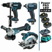 Pack Power PRO 18V: Perceuse 91Nm DDF458 + Meuleuse 125mm DGA504 + Visseuse à chocs 165Nm DTD152 + Scie circulaire 165mm DSS610 + 3 batt 5Ah + sac MAKITA