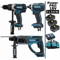 Pack Power PRO 18V: Perceuse 91Nm DDF458 + Perfo 2J DHR202 + Visseuse à chocs 165Nm DTD152 + 3 batt 5Ah + sac MAKITA
