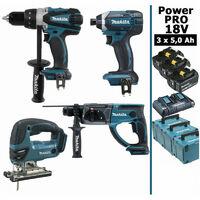 Pack Power PRO 18V: Perceuse 91Nm DDF458 + Perfo 2J DHR202 + Visseuse à chocs 165Nm DTD152 + Scie sauteuse 26mm DJV180 + 3 batt 5Ah + 3 Coffrets Makpac MAKITA