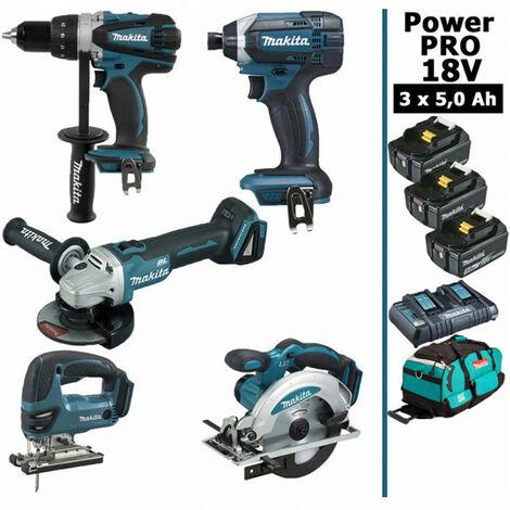 Pack Power PRO 5 outils 18V: Perceuse DDF458 + Meuleuse DGA504 + Visseuse à chocs DTD152 + Scie sauteuse DJV180 + Scie circulaire DSS610 + 3 batt 5Ah + sac MAKITA