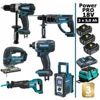 Pack Power PRO 6 outils 18V: Perceuse DDF458 + Perforateur DHR202 + Visseuse à chocs DTD152 + Scie sauteuse DJV180 + Scie récipro DJR186 + Radio DMR107 + 3 batt 5Ah + sac MAKITA