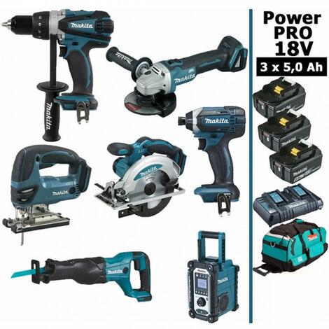 Pack Power PRO 7 outils 18V: Perceuse DDF458 + Meuleuse DGA504 + Visseuse à choc DTD152 + Scie sauteuse DJV180 + Scie circulaire DSS610 + Scie récipro DJR186 + Radio DMR108 + 3 batt 5Ah + sac MAKITA