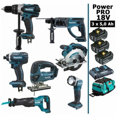 Pack Power PRO 7 outils 18V: Perceuse DDF458 + Perforateur DHR202 + Visseuse à choc DTD152 + Scie sauteuse DJV180 + Scie circulaire DSS610 + Scie récipro DJR186 + Lampe DEADML802 + 3 batt 5Ah + sac MAKITA