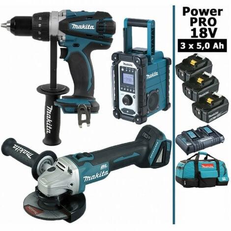 Pack Power PRO Makita 18V: Perceuse 91Nm DDF458 + Meuleuse 125mm DGA504 + Radio de chantier DMR108 + 3 batt 5Ah + sac
