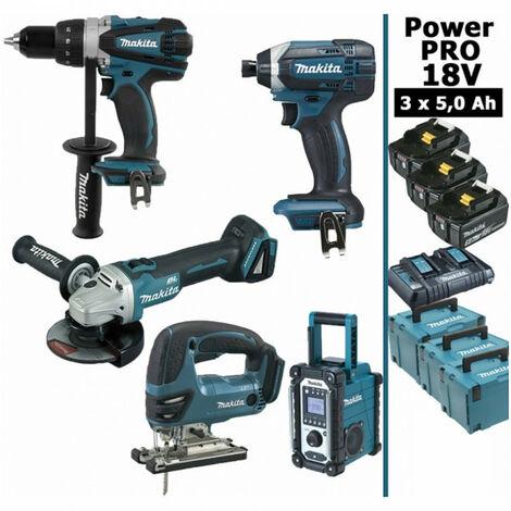 Pack Power PRO Makita 18V: Perceuse 91Nm DDF458 + Meuleuse 125mm DGA504 + Scie sauteuse 26mm DJV180 + Visseuse à chocs 165Nm DTD152 + Radio de chantier DMR108 + 3 batt 5Ah + 3 coffrets