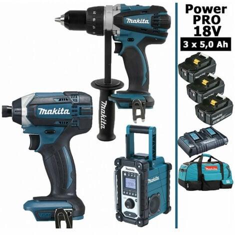Pack Power PRO Makita 18V: Perceuse 91Nm DDF458 + Visseuse à chocs 165Nm DTD152 + Radio de chantier DMR108 + 3 batt 5Ah + sac