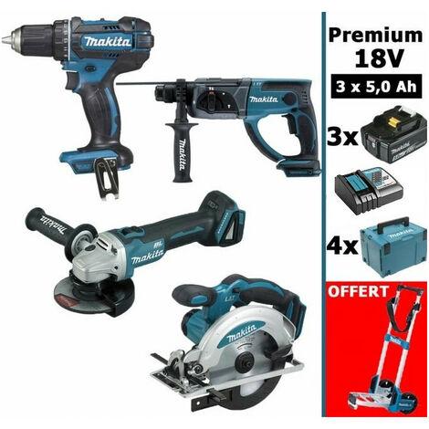Pack Premium 4 machines 18V 5Ah: Perceuse DDF482 + Meuleuse DGA504 + Perforateur DHR202 + Visseuse à chocs DTD152 + Scie circulaire DSS610 + 3 batteries + 4 MakPac + OFFERT chariot MAKITA