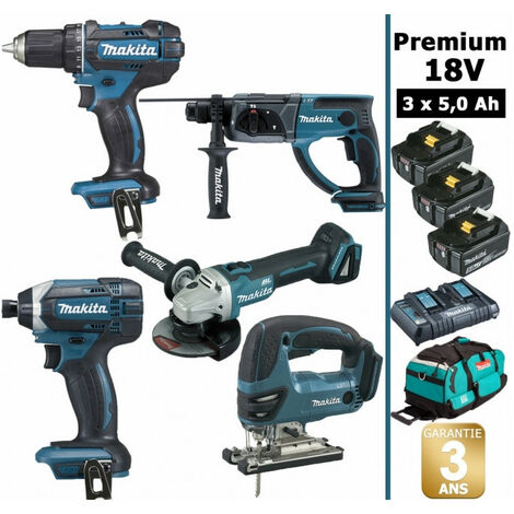 Pack premium 5 machines 18V 5Ah: Perceuse DDF482 + Meuleuse DGA504 + Perforateur DHR202 + Visseuse à chocs DTD152 + Scie sauteuse DJV180 + 3 batteries + sac MAK5311PT3X MAKITA
