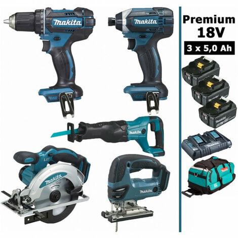Pack Premium 5 machines 18V 5Ah: Perceuse DDF482 + Visseuse DTD152 + Scie récipro DJR186 + Scie sauteuse DJV180 + Scie circulaire DSS610 + 3 batteries + sac MAK5314PT3X MAKITA