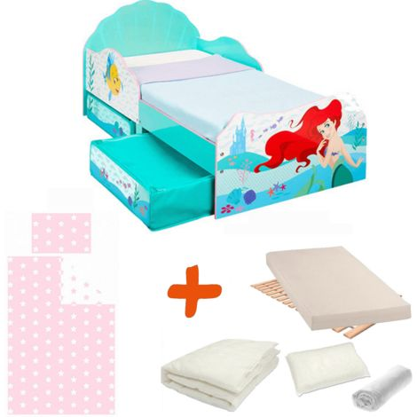Pack Premium Lit Princesse Ariel Disney = Lit+Matelas & Parure+Couette+Oreiller