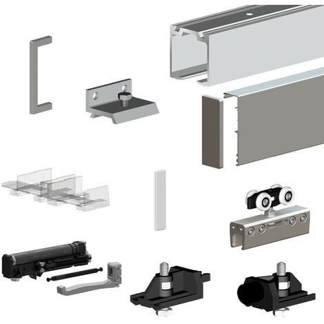 Pack premium SLID'UP 190 pour porte en verre coulissante - rail 1,94 m - 100 kg