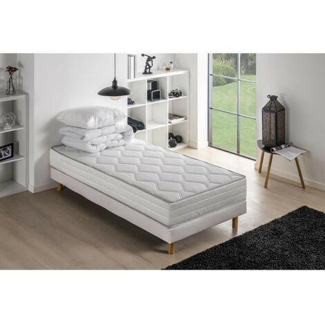 Pack pret a dormir MALIN - Matelas + sommier 90 x 190 + couette + oreiller DEKO DREAM