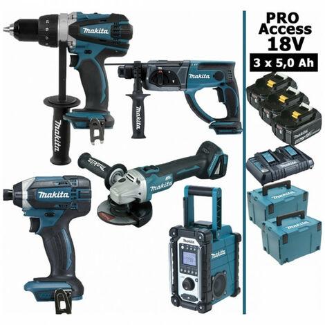Pack Pro Makita 18V 5Ah: Perceuse 91Nm DDF458 + Meuleuse 125mm DGA504 + Perforateur 2J DHR202 + Visseuse à chocs 165Nm DTD152 + Radio de chantier DMR108 + 3 batteries + 3 MakPac