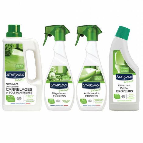 Pack produits avec matières actives d'origine naturelle : Nettoyant multi-usages + Dégraissant cuisine + Détartrant salle de bain + Gel WC STARWAX