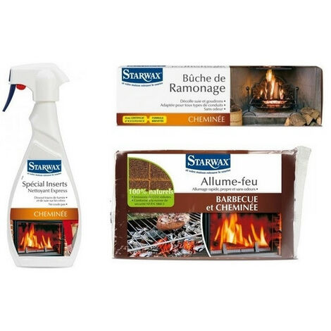 Pack produits de cheminée Starwax: nettoyant insert + buche de ramonage + carrés allume-feu