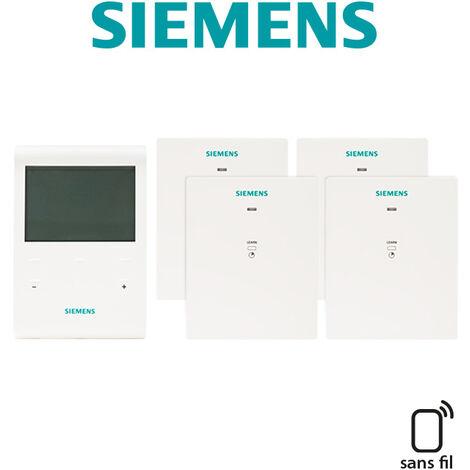 Pack programmateur fil pilote 4 ordres 3 zones + 4 récepteurs RDE100.1FPRFS+4RCR100FPRF - SIEMENS