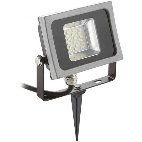 Pack projecteur LED SMD corp noir design plat 10W équi 50W IP65 Blanc neutre extérieur+ Support à piquer Noir V-TAC