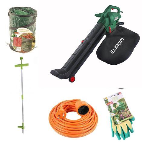 Pack promo automne | souffleur de feuilles Eurom EBR2800 + gants de jardin + sac poubelle de jardin + sarcloir+ rallonge