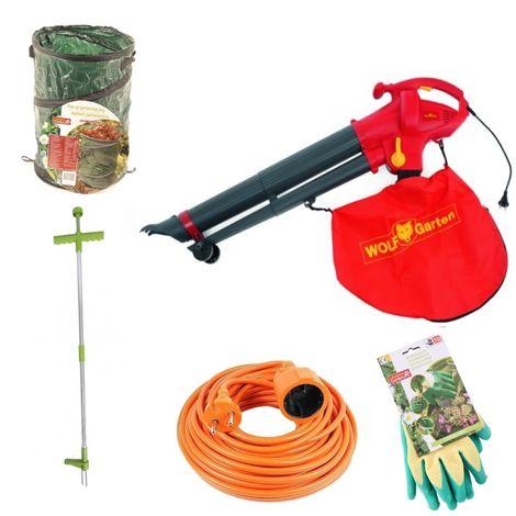 Pack promo automne | Wolf-Garten LBV 2600 E souffleur de feuilles + gants de jardin + sac poubelle de jardin + sarcloir + rallonge