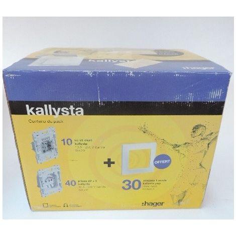 Pack promo d'appareillage mural avec 10 inters + 40 prises + 30 plaques (offertes) blanc série KALLYSTA HAGER PN17KAL_3