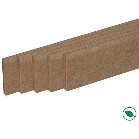 Pack promotionnel de 5 plinthes MDF brut 2000 x 68 x 9 mm - PEFC 70%.
