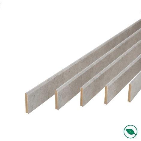 Pack promotionnel de 5 plinthes MDF revetu béton bord arrondi 2000 x 68 x 9 mm .