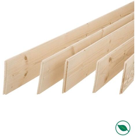 Pack promotionnel de 5 plinthes sapin massif petits nœuds bord droit 2050 x 110 x 9 mm - PEFC 70%.