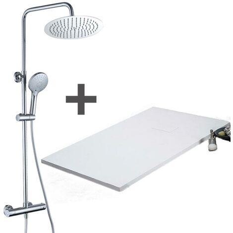 Pack Receveur de douche 80 x 80 cm extra plat Blanc + Colonne de douche thermostatique Finition noir mat - Finition noir mat