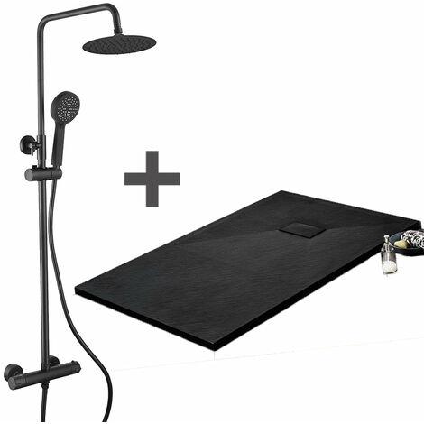 Pack Receveur de douche 80 x 80 cm extra plat Noir + Colonne de douche thermostatique Finition noir mat - Finition noir mat