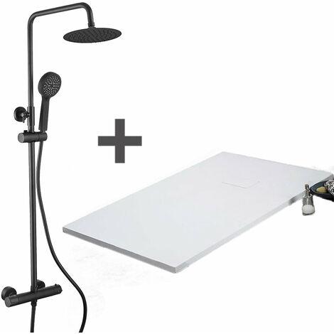 Pack Receveur de douche 90 x 120 cm extra plat Blanc + Colonne de douche thermostatique Finition noir mat - Finition noir mat
