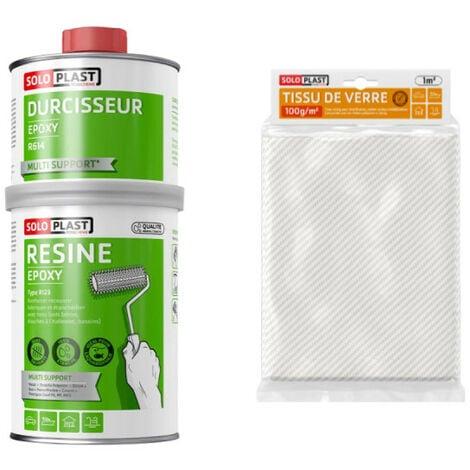 Pack résine epoxy type R123 1kg Soloplast - Tissu de verre Soloplast Roving 100g m2