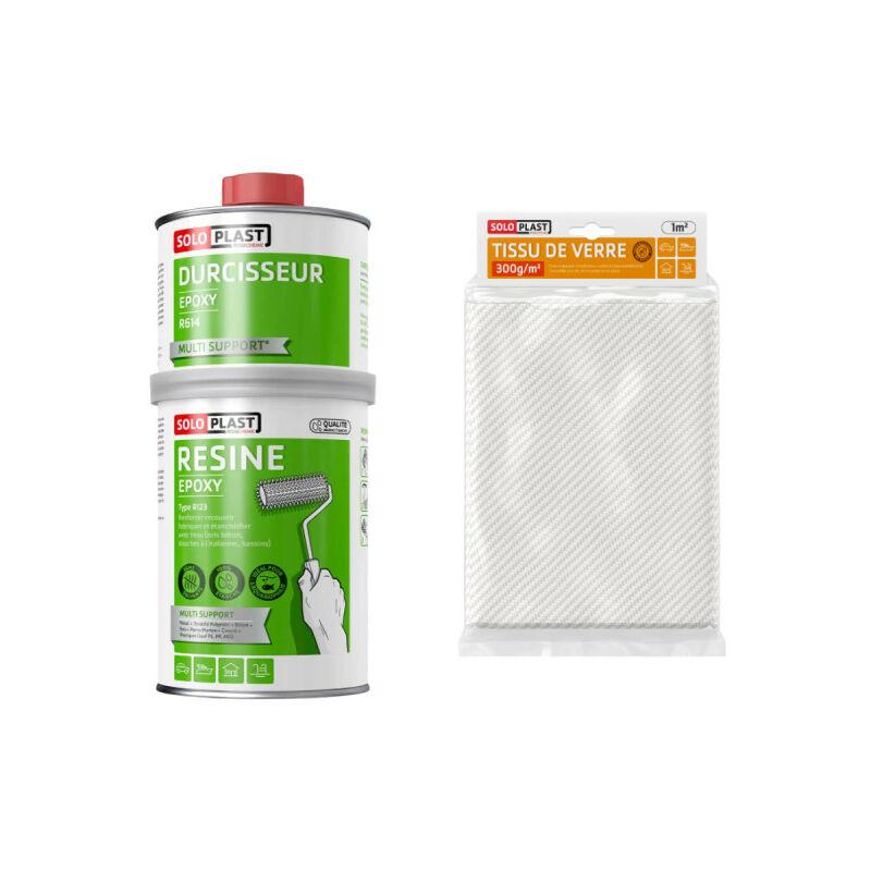Pack résine epoxy type R123 1 Kg - Tissu de verre Roving 300g m2 - Soloplast