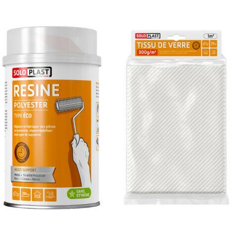 Pack résine polyester type Eco Soloplast 1 Kg - Tissu de verre Soloplast Roving 300g m2