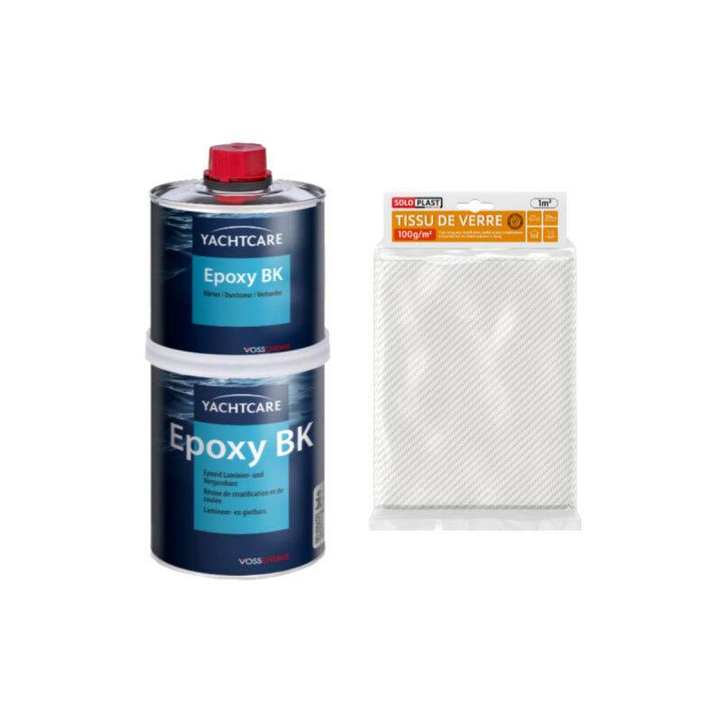 Pack résine Yachtcare BK 1 Kg - Tissu de verre Roving 100g m2 - Soloplast