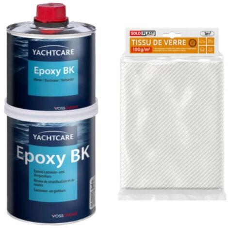 Pack résine Yachtcare BK 1 Kg - Tissu de verre Soloplast Roving 100g m2