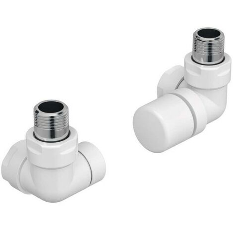 Pack robinetterie BLANC manuelle thermostatisable équerre d'angle droit pour sèche-serviettes - ACOVA 991491