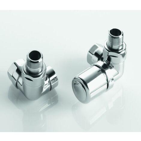 Pack robinetterie manuelle thermostatisable équerre d'angle droit pour sèche-serviettes - ACOVA 991498