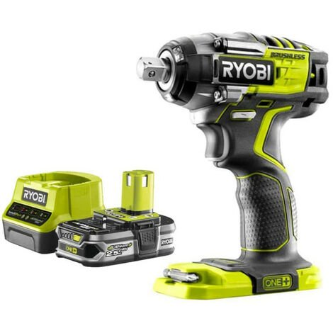 Pack RYOBI Boulonneuse à chocs Brushless 18V ONEPLUS - 4 modes R18IW7-0 - 1 Batterie 2.5Ah - 1 Chargeur rapide RC18120-125