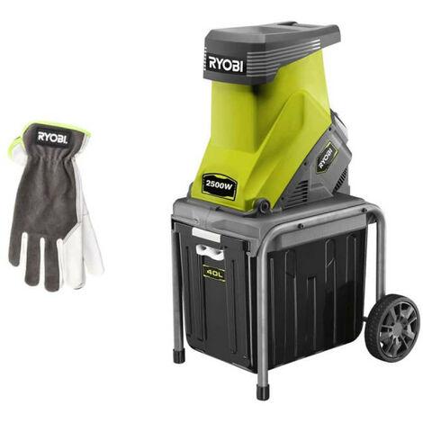 Pack RYOBI Broyeur de végétaux 2500W RSH2545B - Gants de jardinage Cuire Taille M RAC810M